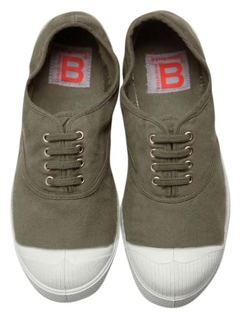 "Item - Khaki *new* Lace Up ""Lacet"" Tennis Sneakers (7 Flats Size EU 37 (Approx. US 7) Regular (M, B)"