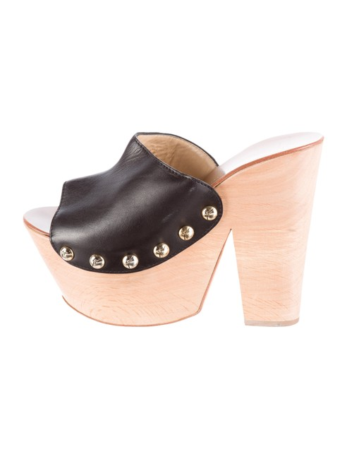 Item - Black Platform with Gold-tone Stud Embellishments Mules/Slides Size US 8 Regular (M, B)