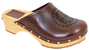 Tory Burch Leather Signature Wooden Gold Hardware Studded Brown Mules
