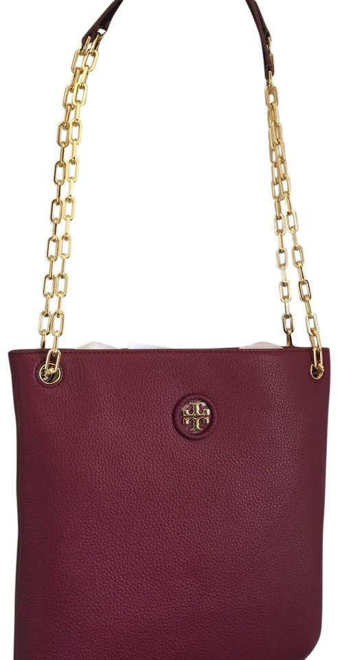 b7cb6259133 Tory Burch Whipstitch Logo Swing Red Agate Leather Shoulder Bag ...