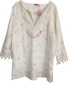 Calypso St. Barth NEW Calypso White Eyelet Cover-Up / Tunic