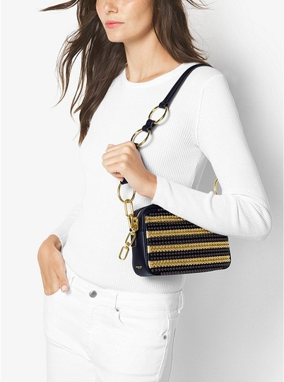Michael Kors Mk Julie Small Calf Leather Maritime/Gold 31h6gjul1c Shoulder Bag Image 2