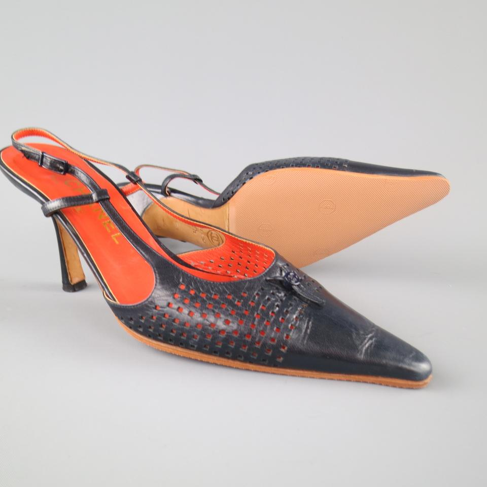 Chanel Perforated Leather Slingback Navy Blue Pumps ...