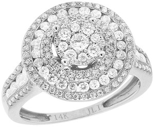Jewelry Unlimited Ladies 14K White Gold Diamond Round Cluster Engagement Ring 1 Ct