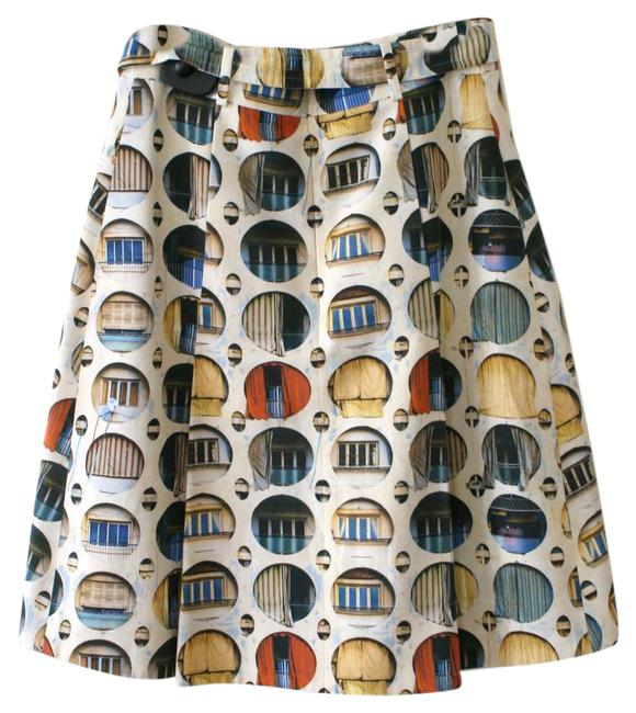 Item - Multi Color Window Print A-line Pleated Skirt Size 6 (S, 28)
