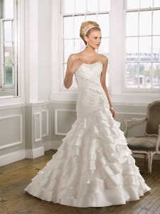 Mori Lee Ivory/ Silver Satin 1617 Modern Wedding Dress Size 10 (M)