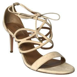 Aquazzura Lace Up Heels Suede Beige Sandals