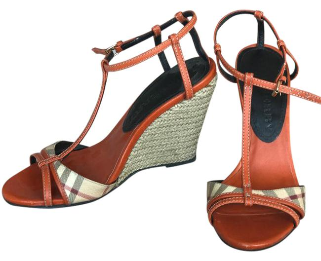 Item - Orange Haymarket Check Sandals Wedges Size US 9.5 Regular (M, B)