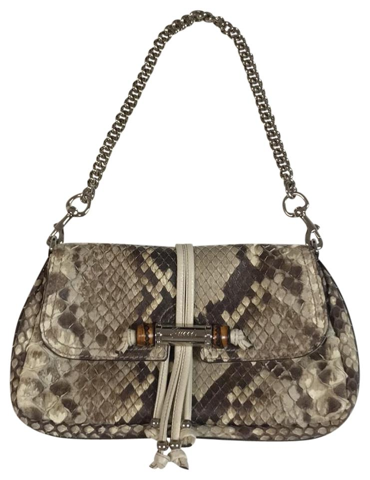581cc98579f Gucci Evening Croisette Bamboo Off White Python Skin Leather ...