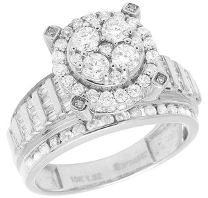 Jewelry Unlimited 10K White Gold Baguette Diamond Cluster Engagement Ring 1.50Ct 11MM