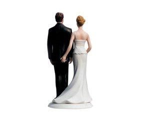 The Love Pinch Bridal Couple Figurine Caucasian Couple Hand Painted Cake Topper