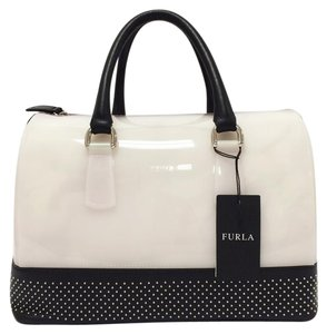 Furla Microstudded Leather Trim Satchel in Opaline