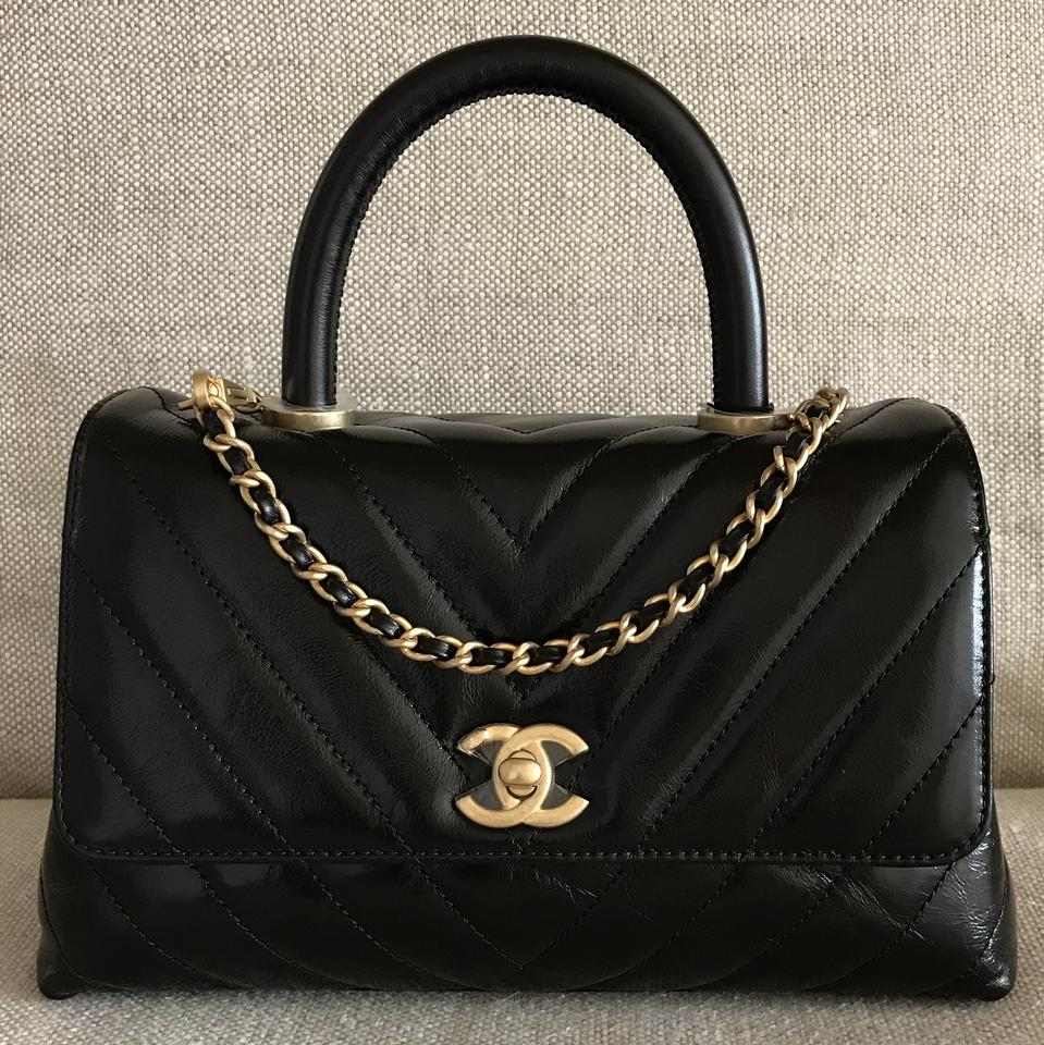 07bfddb32451 Chanel Flap Bag Coco Handle Classic Mini Chevron with Antique Gold Hardware  Black Calfskin Leather Tote
