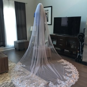 Ivory and White Long Cathedral 1 Tier Bridal Veil