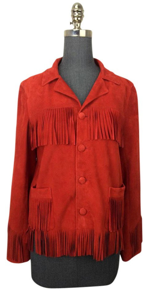 003d37ee986 Saint Laurent Red Curtis Fringed Suede Jacket Size 8 (M) - Tradesy