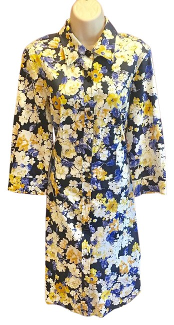 Item - Navy Blue Yellow & White Short Casual Dress Size 8 (M)