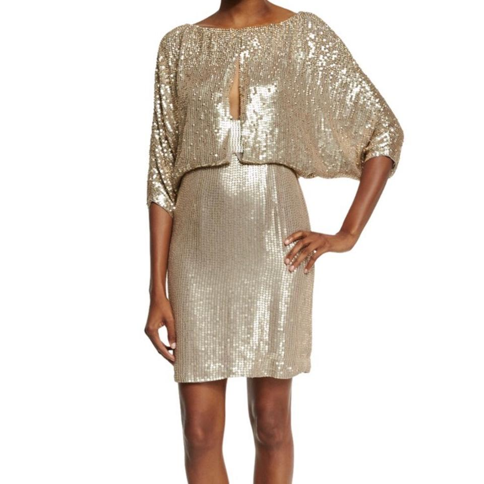 Jenny Packham Gold Dawn Draped Sleeve Draped Cocktail Mid-length ...