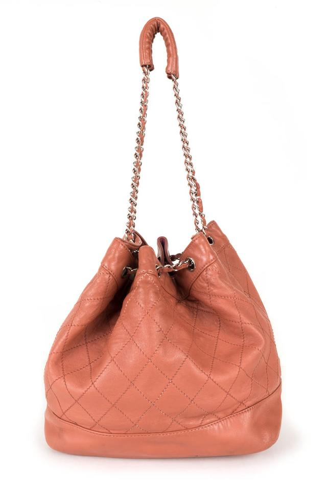 dd44c7252316 Chanel Quilted  surpique  Bucket Coral Lambskin Leather Shoulder Bag 64%  off retail