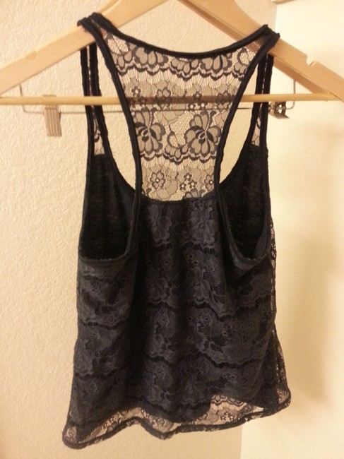 Abercrombie & Fitch Lace Boho Summer Casual Beach Sexy Top Navy