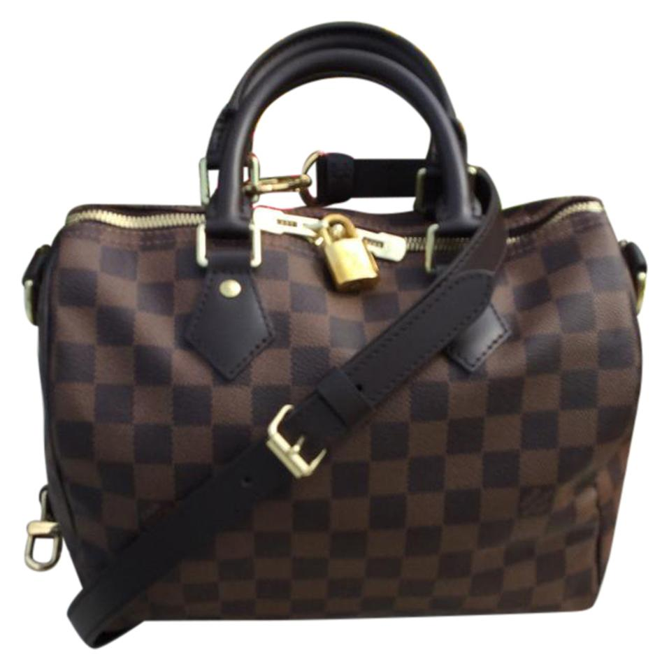 Louis Vuitton Damier Ebene With Red Interior And Gold Hardware Coated Canvas Leather Microfiber