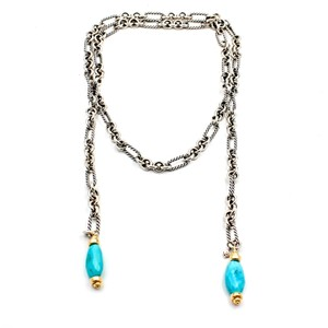 David Yurman DAVID YURMAN Turquoise Lariat Necklace in Sterling Silver and 18k Gold