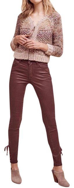 Item - Burgundy Pilcro Script Coated High-rise Tall Skinny Jeans Size 30 (6, M)