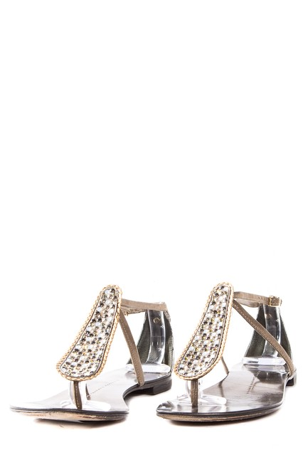 Giuseppe Zanotti Pewter Crystal Embellished Leather Sandals Size EU 37.5 (Approx. US 7.5) Regular (M, B) Giuseppe Zanotti Pewter Crystal Embellished Leather Sandals Size EU 37.5 (Approx. US 7.5) Regular (M, B) Image 1