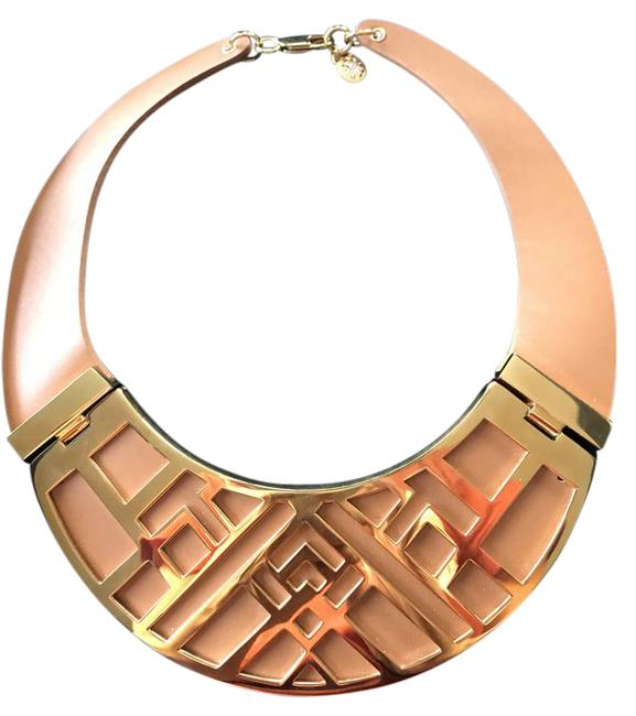 Item - Tan with Gold Leather Collar Trim Necklace