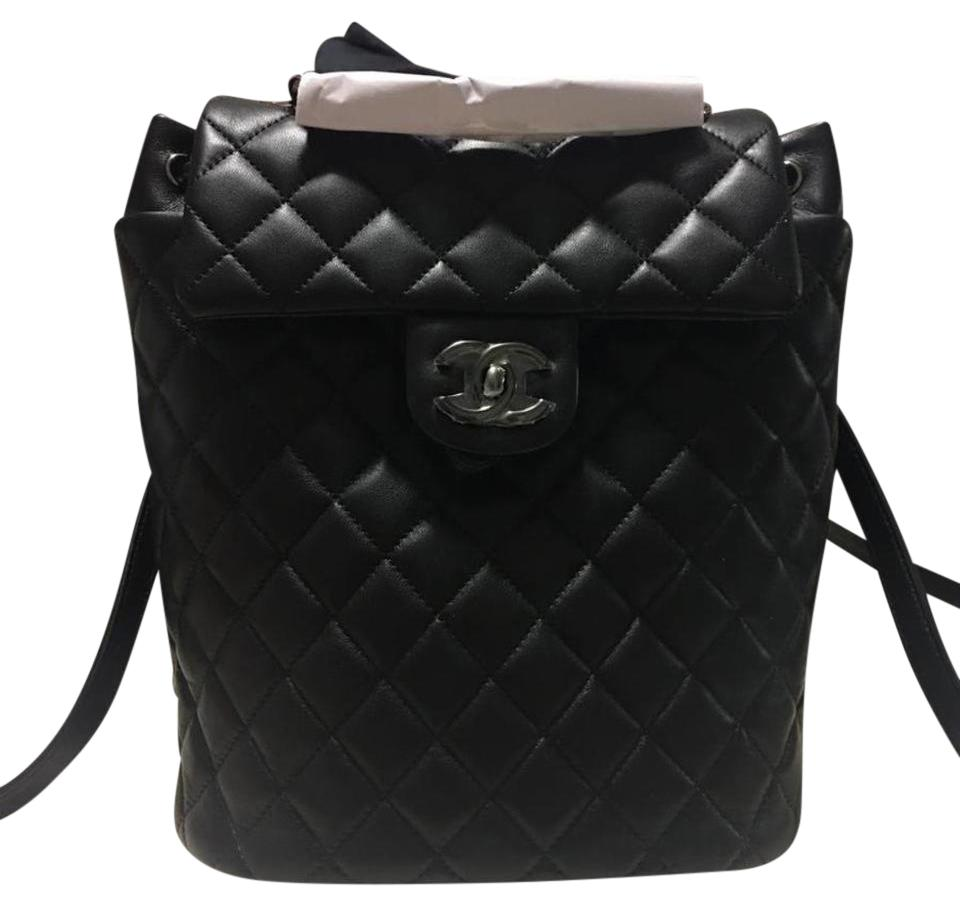 9ea3dd45f33d Chanel Urban Spirit Medium Quilted Black Lambskin Leather Backpack ...