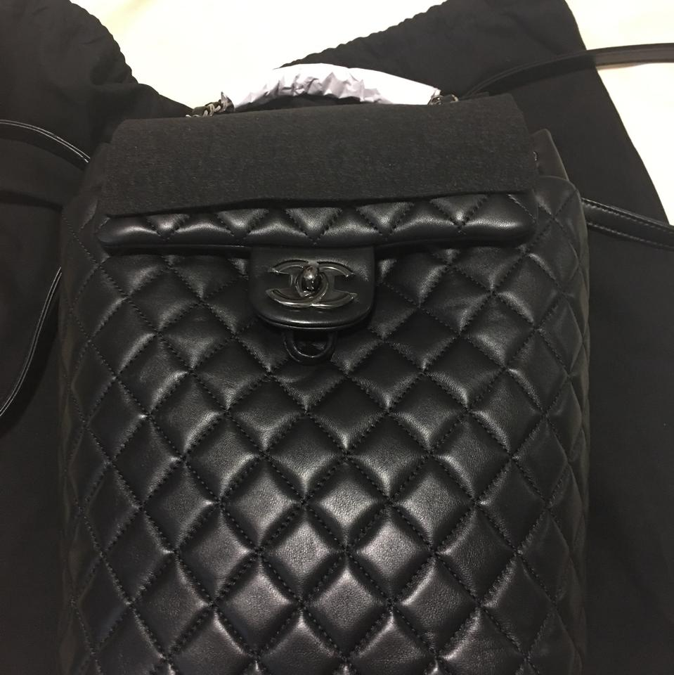 11ad02fb5519 Chanel Urban Spirit Medium Quilted Black Lambskin Leather Backpack - Tradesy