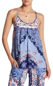 Green Dragon Keyhole Floral Asian Sleeveless Tiered Top Blue