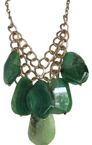 Kenneth Jay Lane Kenneth Jay Lane Antiqued Gold with Green Gems Statement Necklace