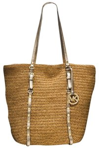 Michael Kors Large Studded Tote in Natural pale gold