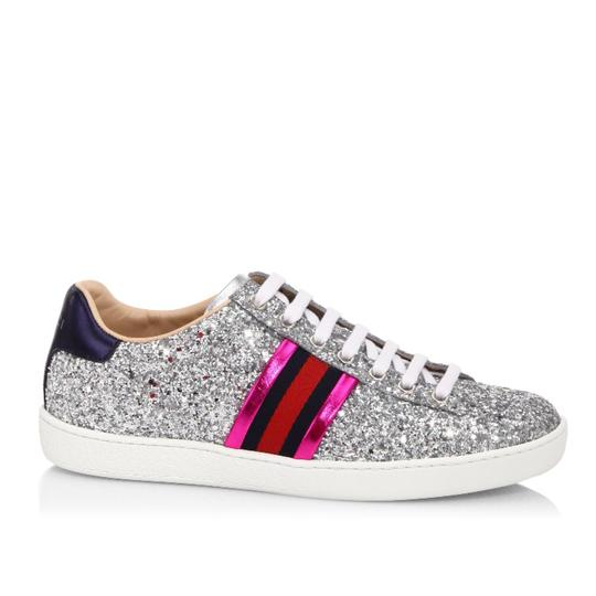 Gucci Silver Ace Glitter Sneaker Leather 35 5 Sneakers