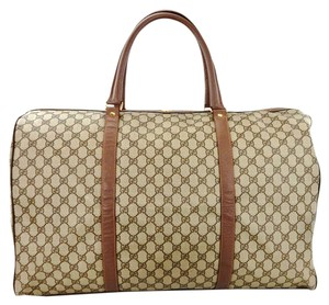 321a404bc1f4 Gucci Vintage Train Case Luggage Rare Unique Brown Canvas Leather ...