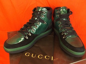 Gucci Black/Green Mens Softy Tek Contrast Combo Logo Hi Top Sneakers 10 11 Shoes