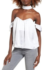 4SI3NNA Choker The Shoulder Strapless Top White