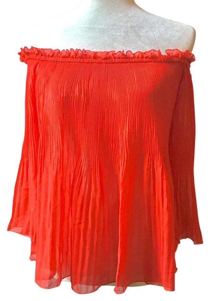2a21c74d0bf Zara Red Blood Pleated Off Shoulder Blouse Size 4 (S) - Tradesy
