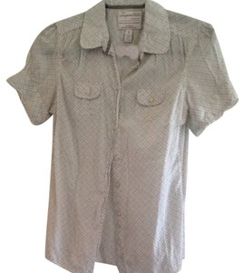 Aropostale Button Down Shirt White And Gray