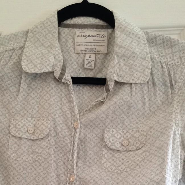 Aéropostale Button Down Shirt White And Gray
