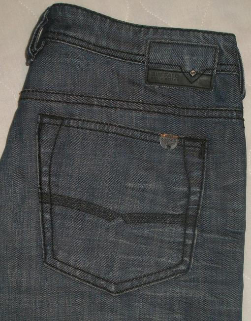 Buffalo David Bitton * Factory Fading *wrinkled Look Detail * Marking & Distressing Detail * Closure *stitched Back Pockets *machine * Zip Straight Leg Jeans-Dark Rinse