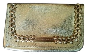 Michael Kors Holiday Leather Hardware Chain Chic Gold Clutch