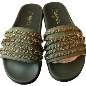 Chanel army green Sandals