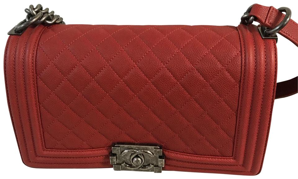adc5f3b2a11ce9 Chanel Boy Medium In Rhw Red Caviar Leather Shoulder Bag - Tradesy