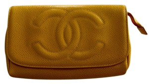 Chanel Chanel Mustard yellow Caviar cosmetic Pouch Clutch bag