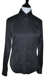 Etro Ctton Long Sleeve Mix Print Button Down Shirt Black Stripe