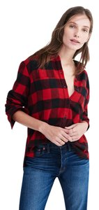 Madewell Button Down Shirt Black/Red