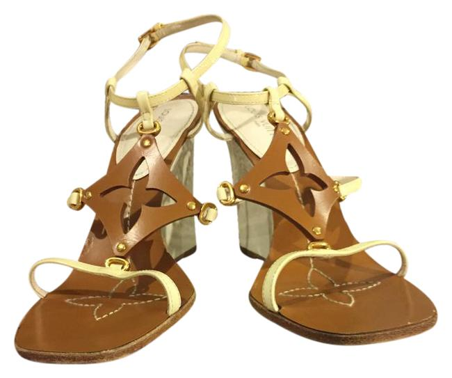 Item - White and Brown Sandals Wedges Size EU 38 (Approx. US 8) Narrow (Aa, N)