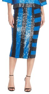 Tracy Reese Sequin Party Night Out Chic Skirt Black and Blue Stripe
