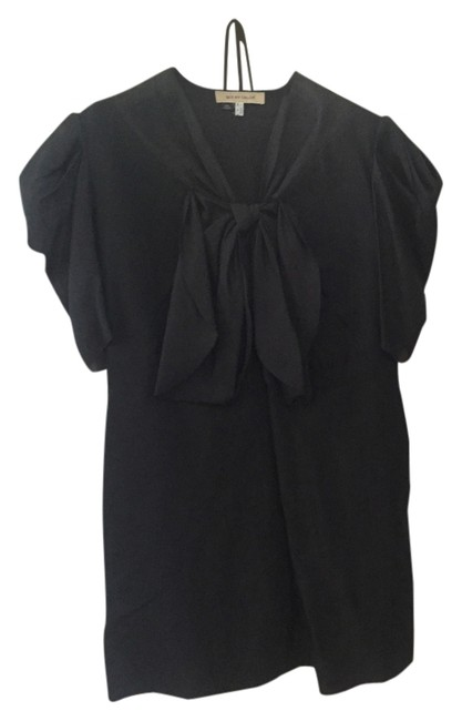 See by Chloé Puff Sleeves Loose Fit Mini Bow Neckline Dress